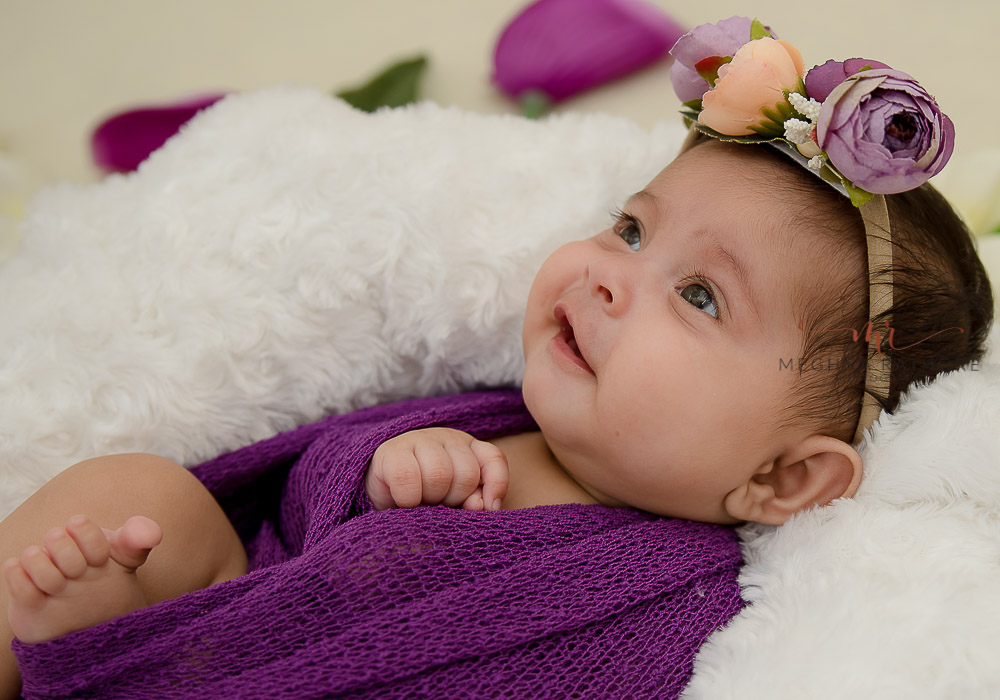 meghna rathore photography newborn baby photo shoot delhi purple wrap with matching head band