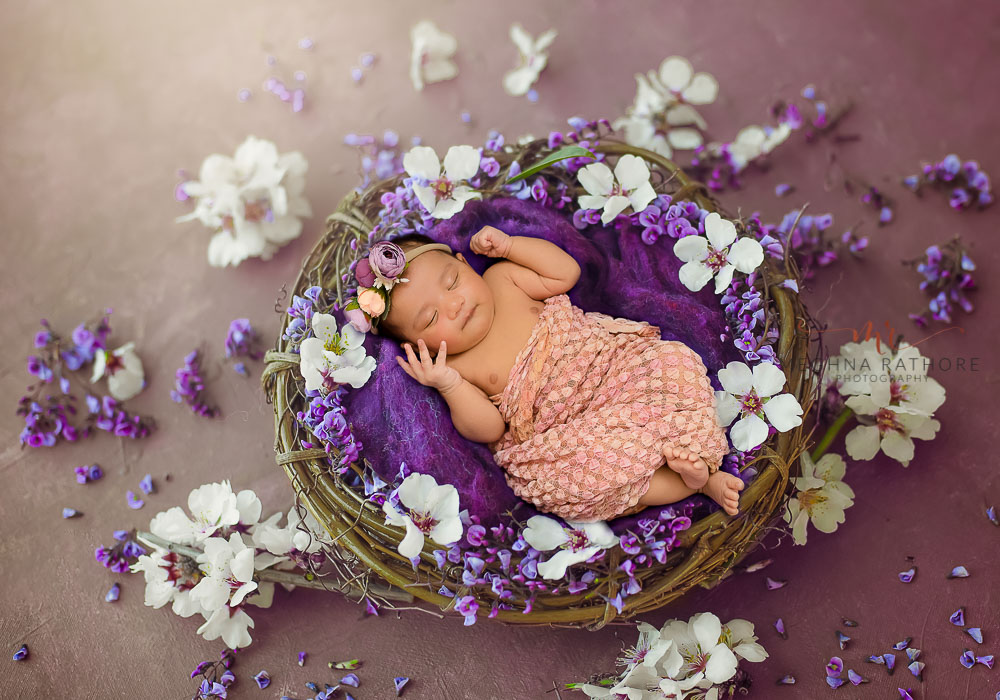 meghna rathore photography baby photo shoot newborn lying in a basket with flower decoration on purple backdrop