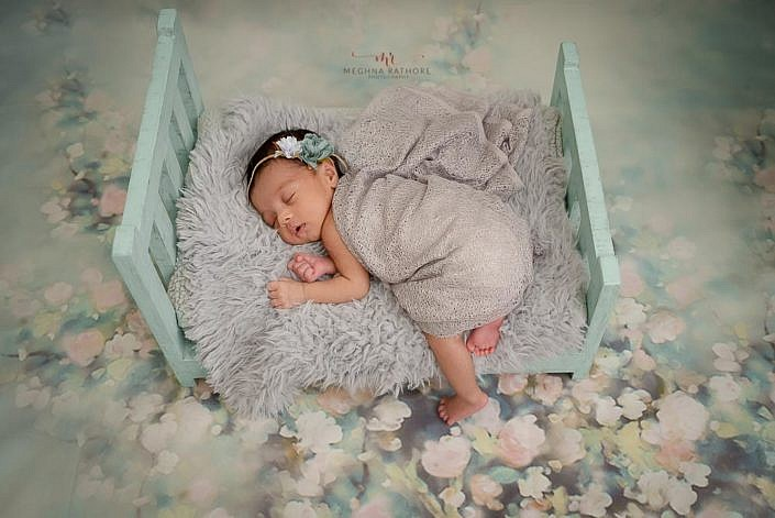Meghna Rathore Photography, blue wooden bed, newborn photographer