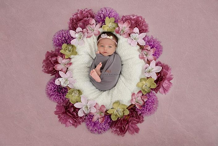 Meghna Rathore Photography, purple flowers, newborn photographer