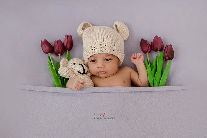 Meghna Rathore Photography, purple lilies, newborn photographer