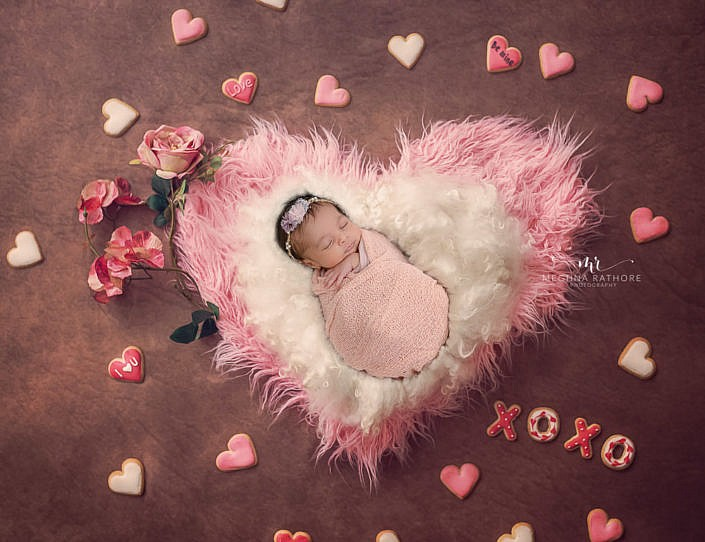 Meghna Rathore Photography, pink heart, newborn photographer