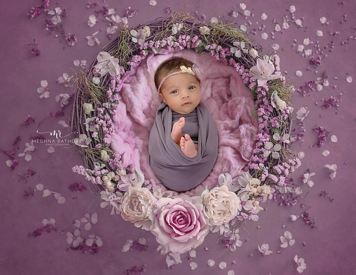 Meghna Rathore Photography, purple basket, newborn photographer