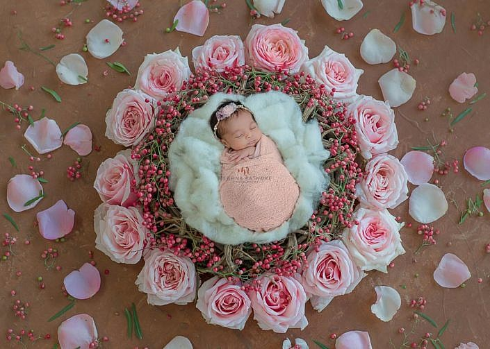 Meghna Rathore Photography, pink flowers, newborn photographer