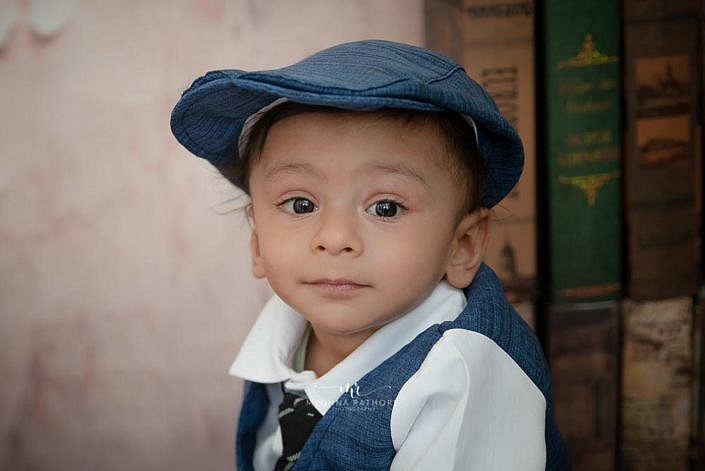 Meghna Rathore Photography, blue hat, kid photoshoot