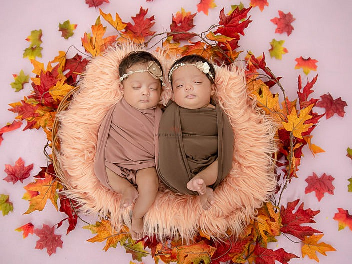 37 Days Old Twin Girls Indoor Professional Photoshoot