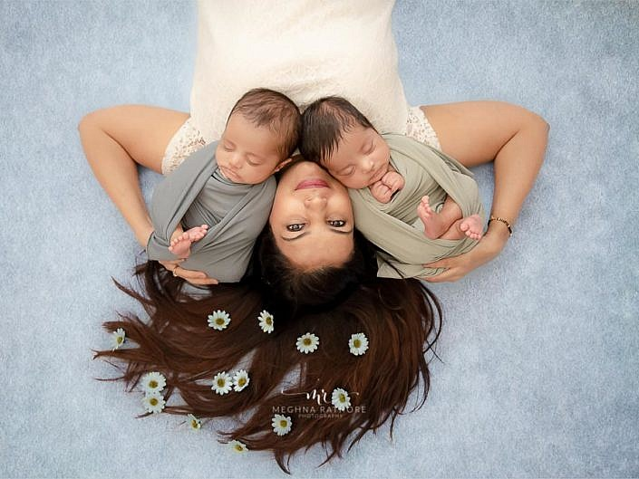 56 Days Old Twins Baby Boys Photo Session Delhi
