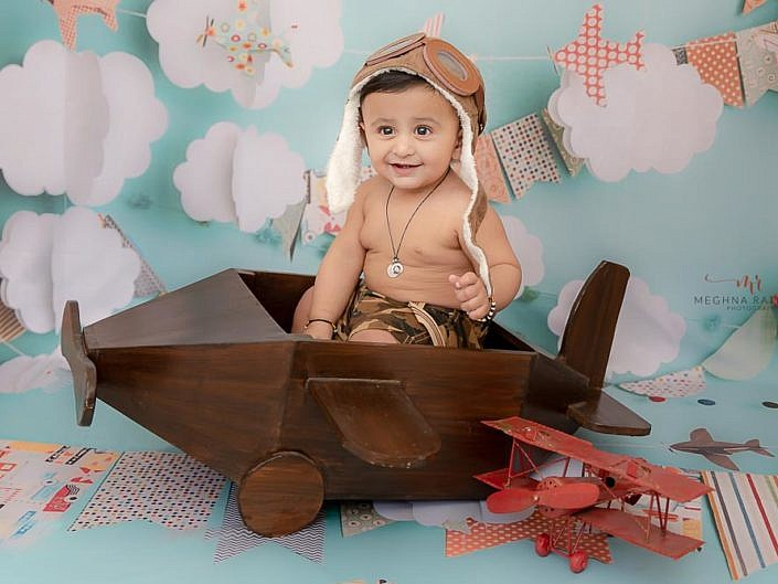 8 Months Old Boy Kid Indoor Props Photo Session Delhi Gurgaon