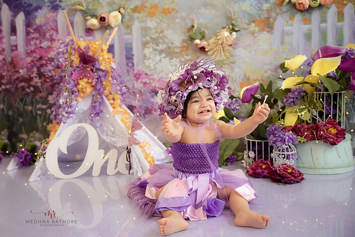 baby girl purple dress best professional photo shoot Meghna Rathore Photography delhi gurgaon