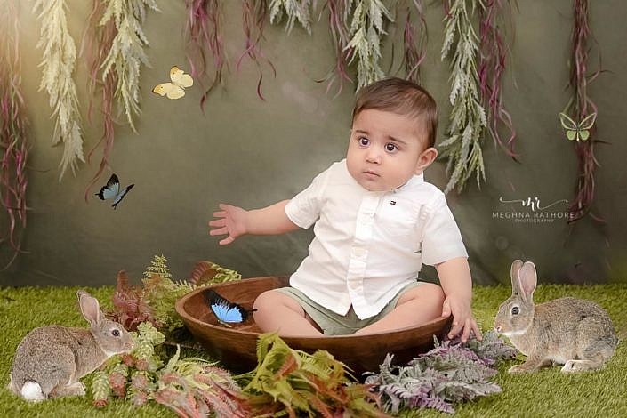 Meghna Rathore Photography, butterflies, sitters bowl, baby posing