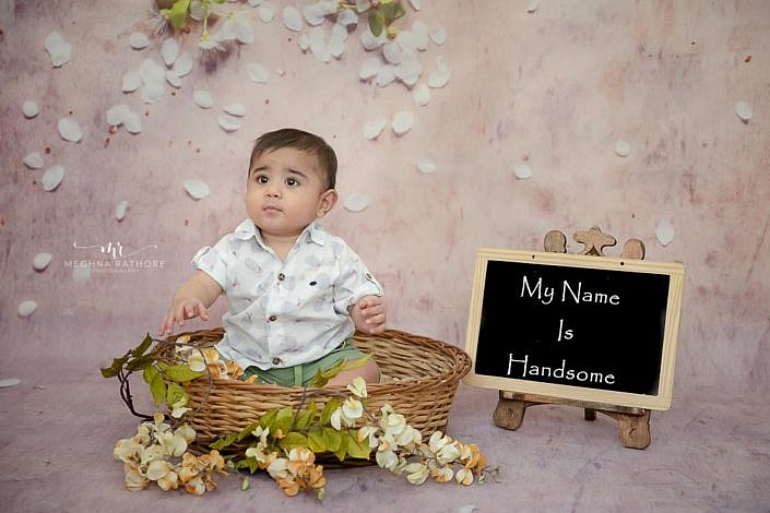 Meghna Rathore Photography, baby in basket, kids photographer