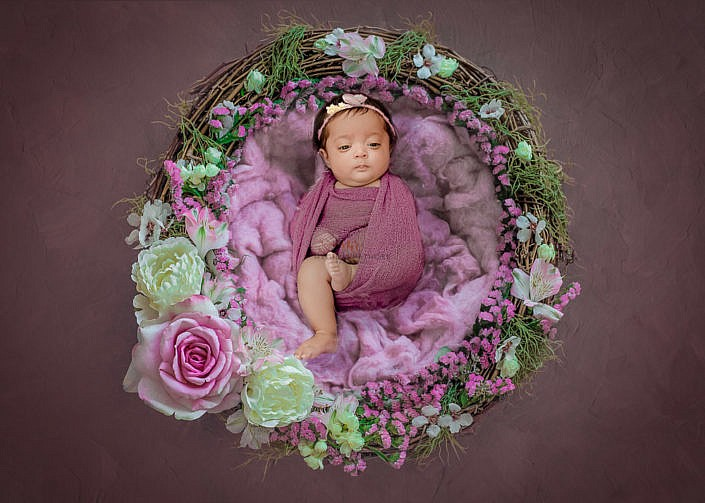 Meghna Rathore Photography, newborn posing in purple basket