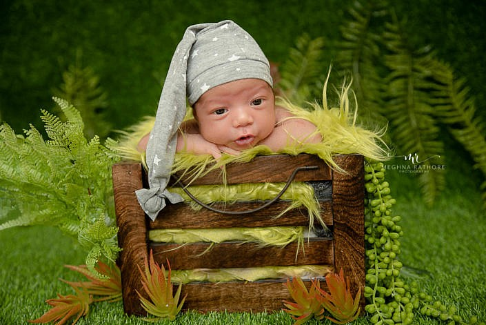 newborn photoshoot delhi baby sitting in crate with leaves and green decoration meghna rathore photography delhi gurgaon faridabad