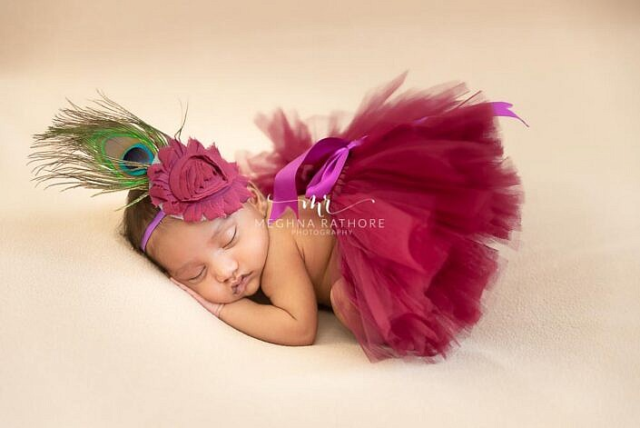 baby in purple tutu dress peacock feature Meghna Rathore Photography baby photo shoot