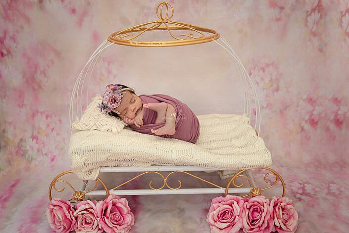 baby wrapped in purple cloth angle carriage flower decoration photo shoot by Meghna Rathore Photography