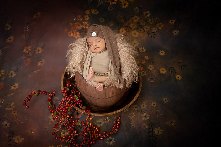 baby in wood bowl with seed decoration brown backdrop Meghna Rathore Photography
