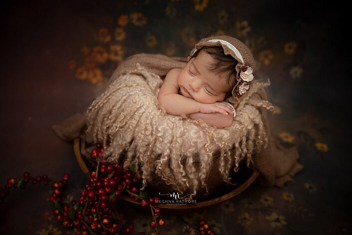 newborn baby photoshoot lying in a wood bowl Meghna Rathore Photography