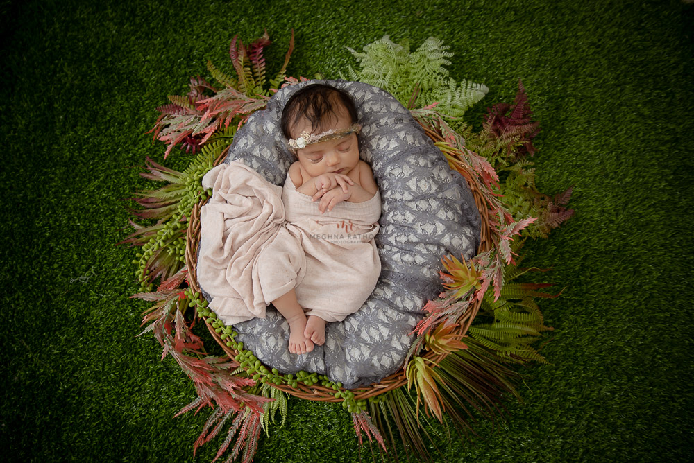 newborn photo shoot grass green backdrop baby in basket Meghna Rathore Photography