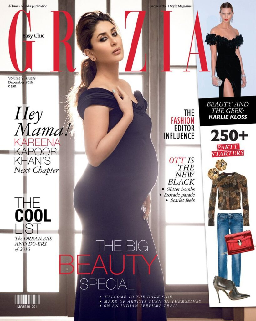bollywood celebrity maternity photoshoot featuring on grazia magazine cover