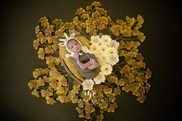 Top angle shot of newborn baby boy surrounded with flowers and tucked in a basket at meghna rathore photography in dehi