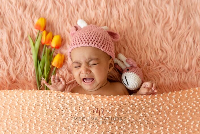 Baby girl posing at professional photoshoot at meghna rathore photography in delhi