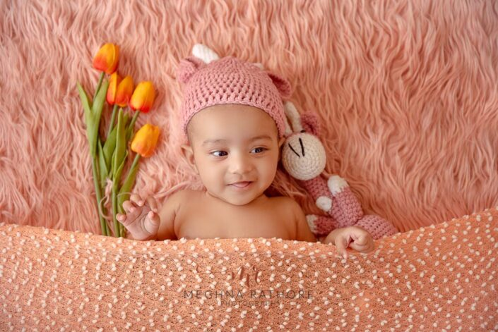 Baby girl photoshoot with theme and props at meghna rathore photography in delhi