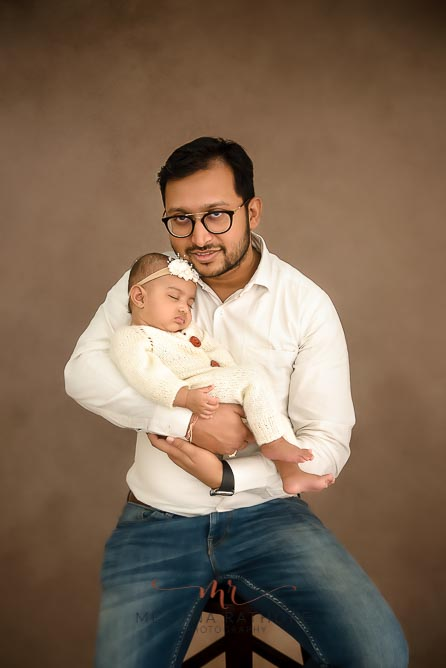 Father and baby duo family portrait photoshoot at meghna rathore photography in delhi