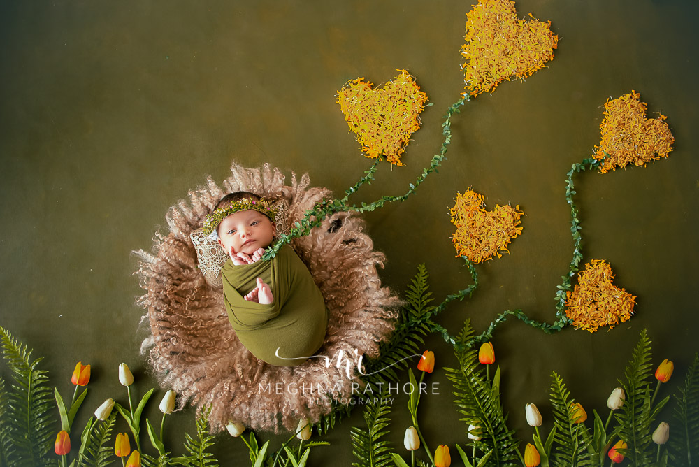 24 days old newborn girl child best indoor photo studio forest theme at meghna rathore photography in gurgaoun